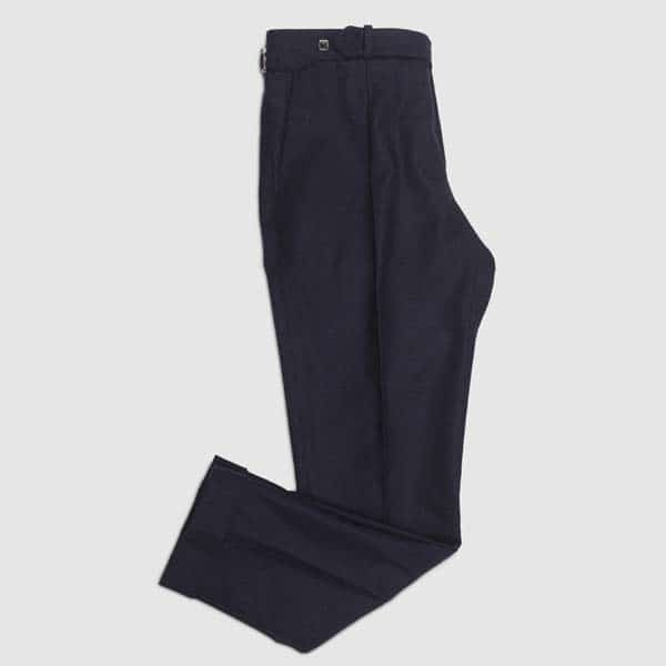 Blue Navy flannel One pleat Trousers