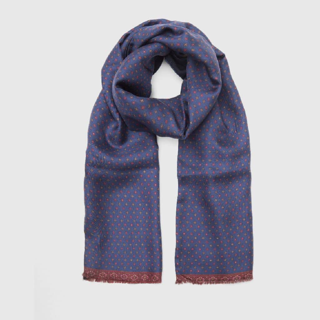 Blue Silk_Wool Scarf with Floral Pattern
