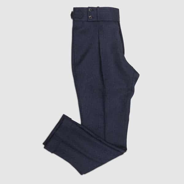 Blue Herringbone Highwaisted One pleat Trousers
