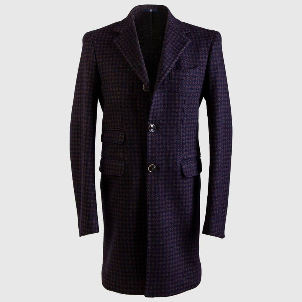 Blue Background & Grey Wool And Cotton Pied de Poule overcoat