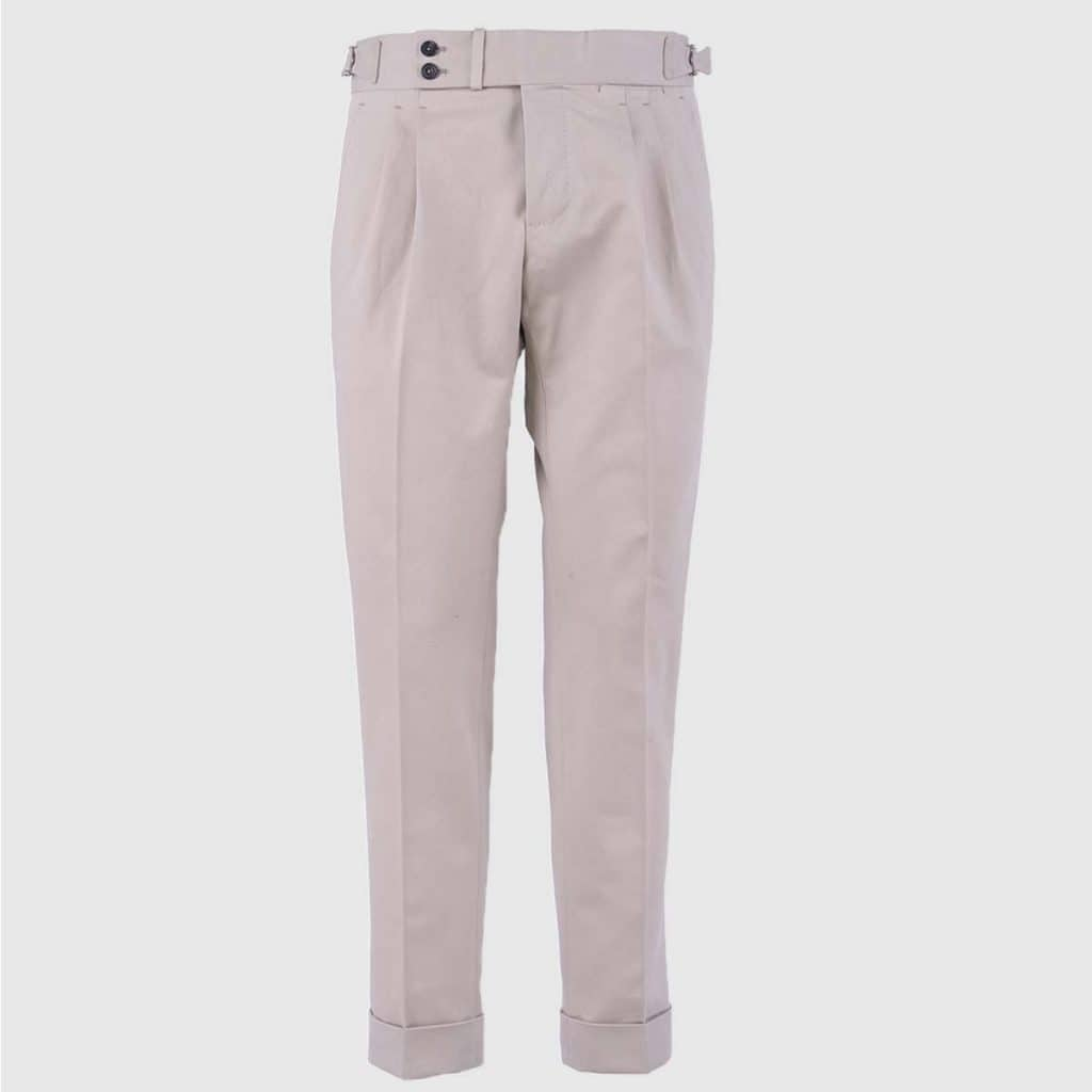 Beige Double Pleats Cotton Trousers