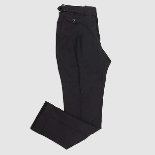 Black one pleat Flannel Trousers