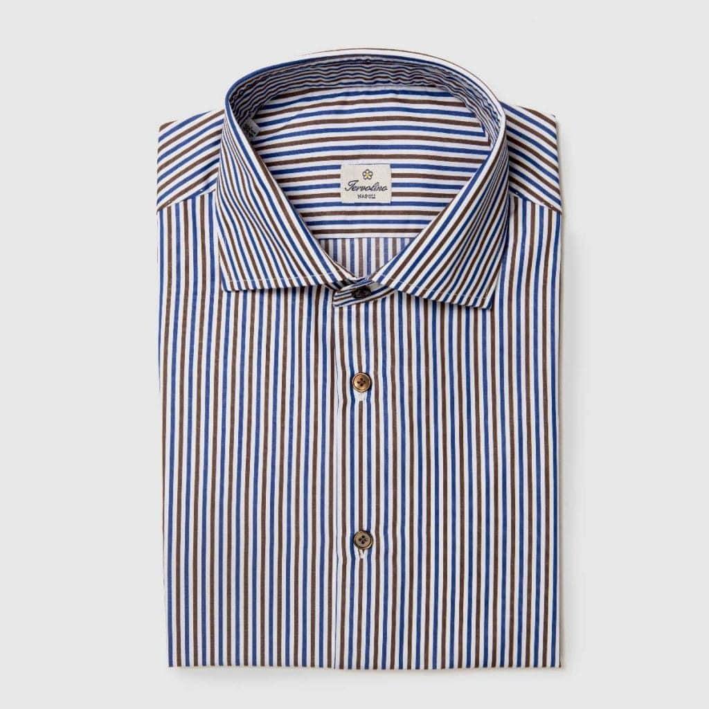 Camicia a righe marroni blu bianche con 12 passaggi a mano