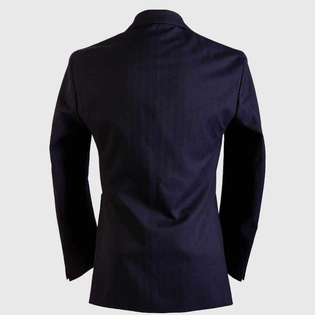 Blue Herringbone Single Breasted Blazer