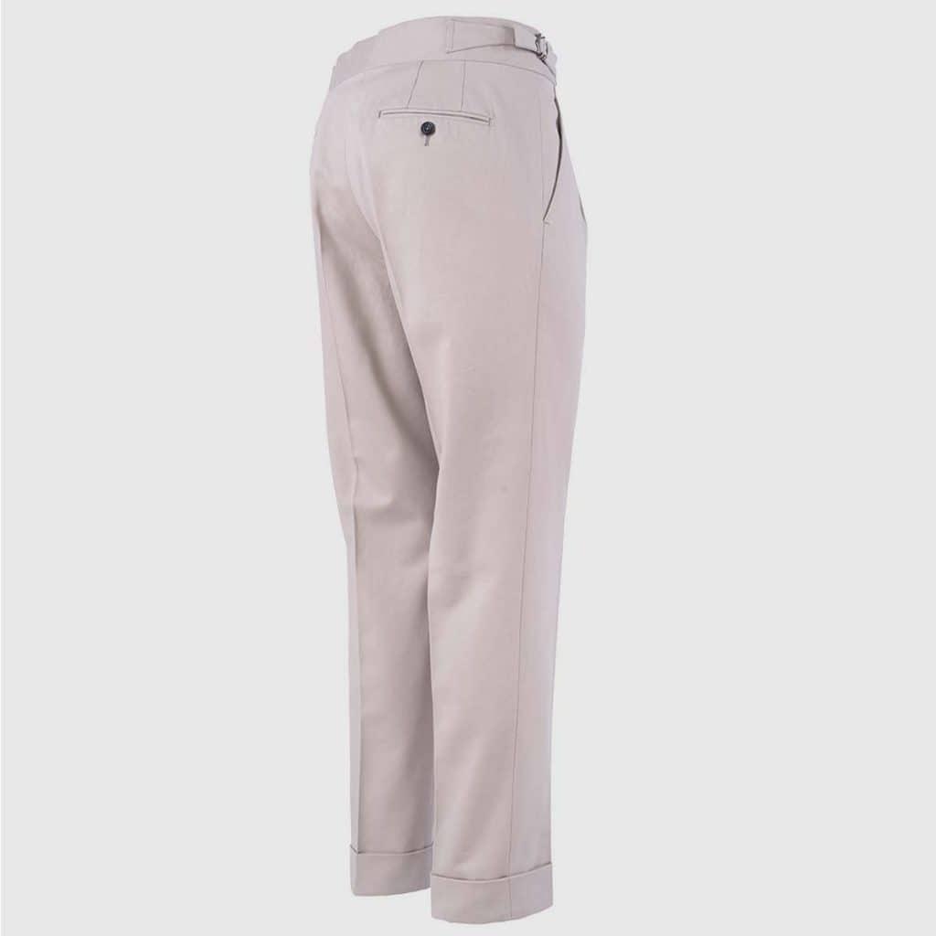 Beige Double Pleats Cotton Trousers