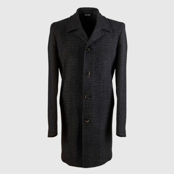 "Grey Wool Alpaca and Cashmere ""Prince of Galles"" Overcoat"