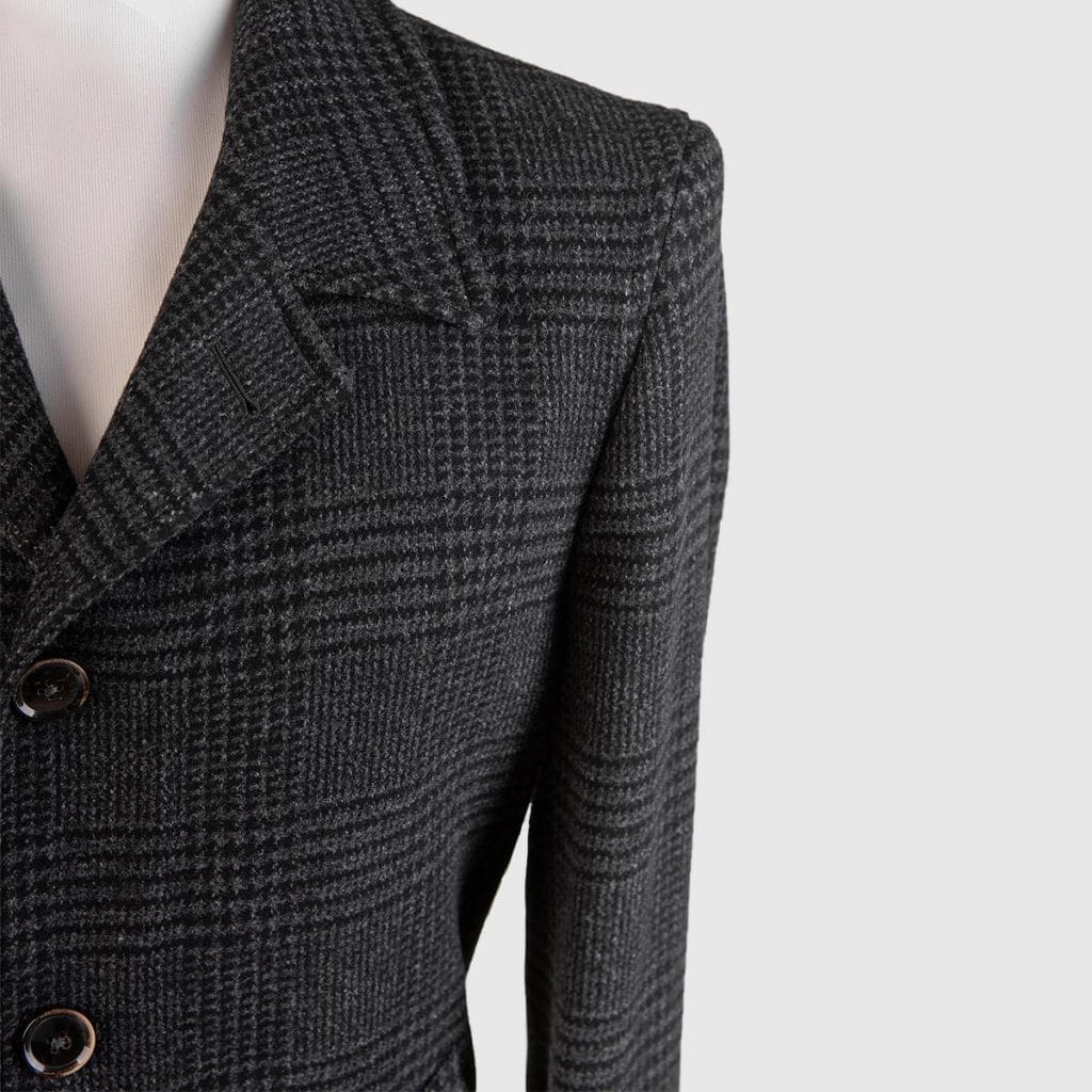 """Grey Wool Alpaca and Cashmere """"Prince of Galles"""" Overcoat"""