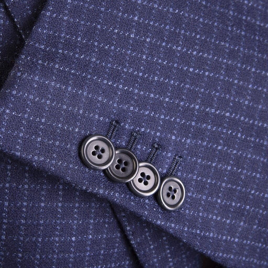 Blu Navy Virgin Wool Single-Breasted Blazer