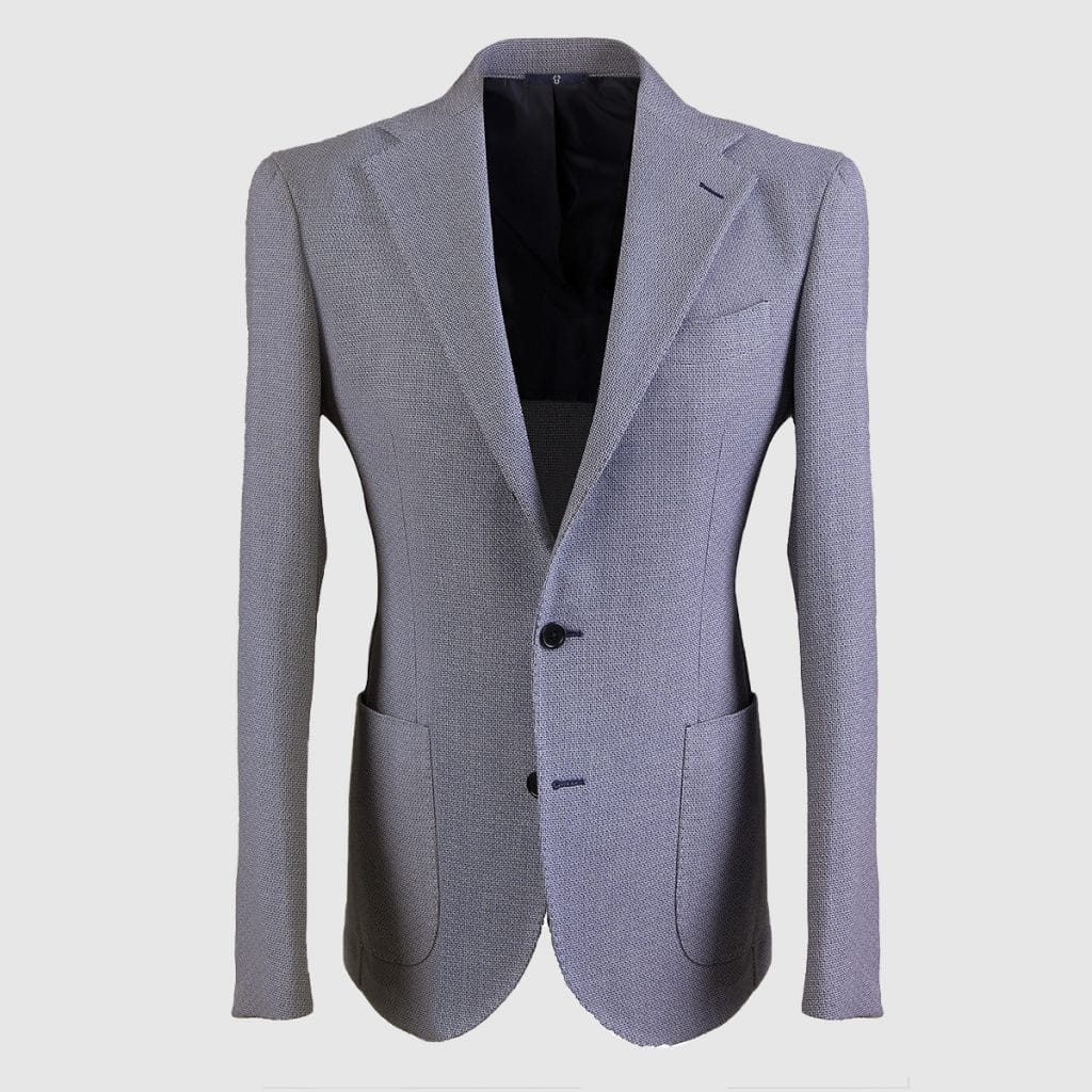 Grey Single breasted 100% Wool Hopsack