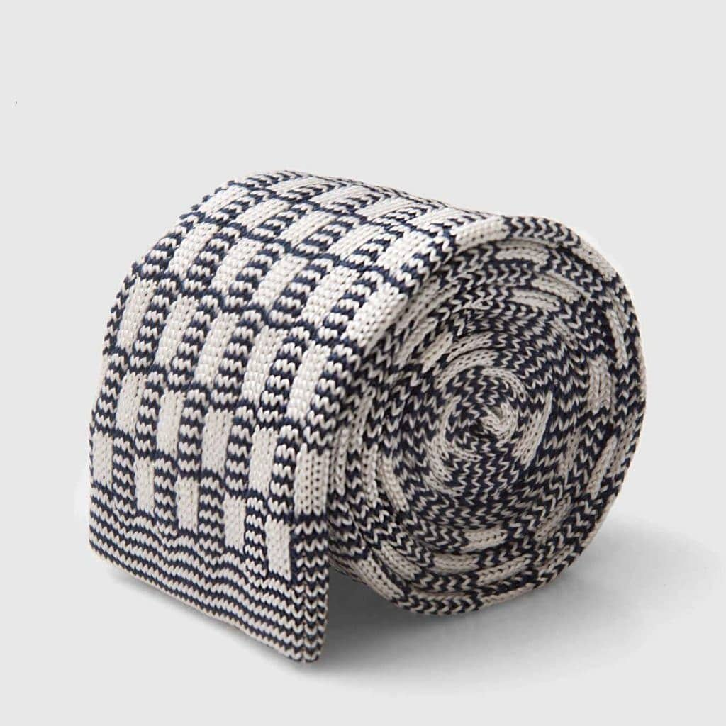 Chess Grey and white Silk Knitted tie