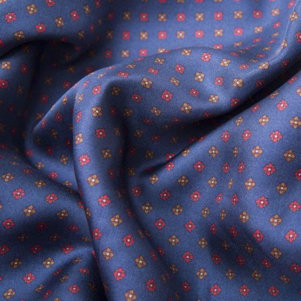 Sciarpa in Seta Italiana Blu con frange rosse e microfantasie