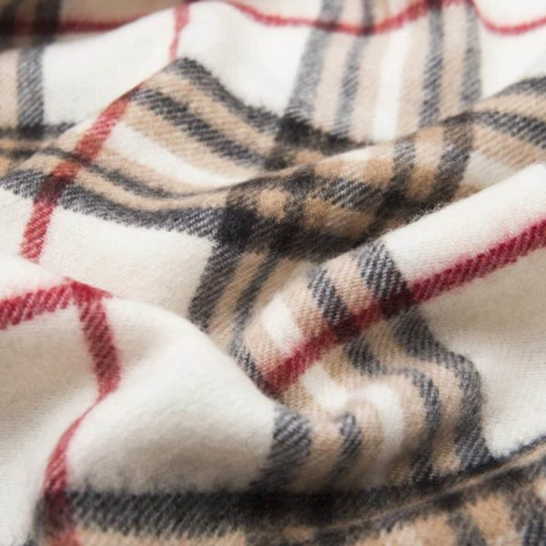 Sciarpa sfrangiata tartan panna in cashmere