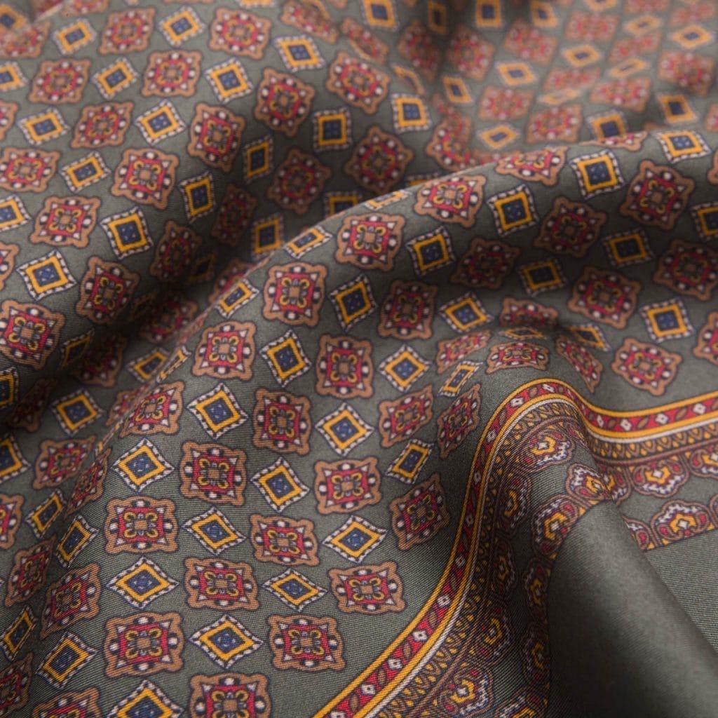 Brown Print Silk Mosaic Scarf