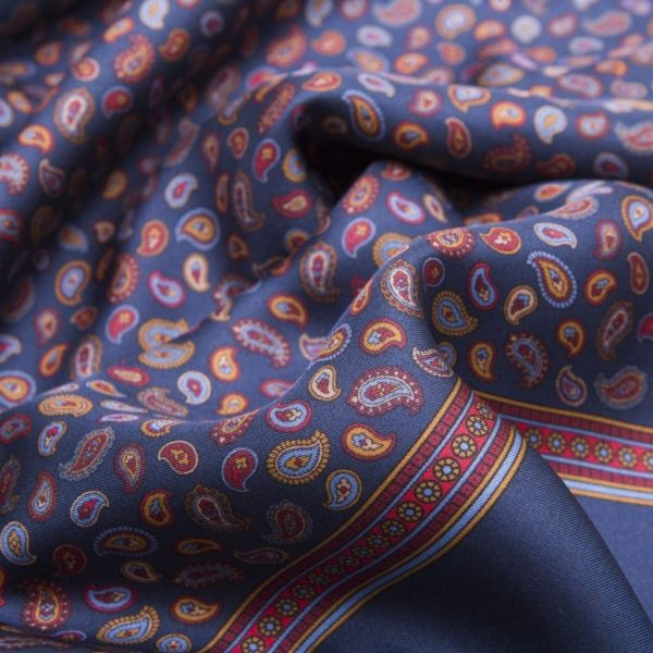 Blue Silk fringing Scarf with Paisley pattern