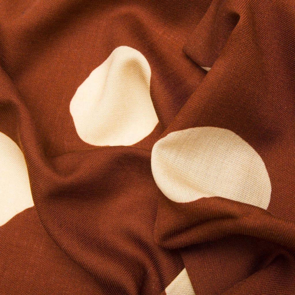 Brown Virgin Wool Small Scarf with Beige Polka dot