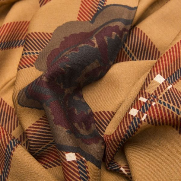 Beige and Brown Tartan Virgin Wool Scarf