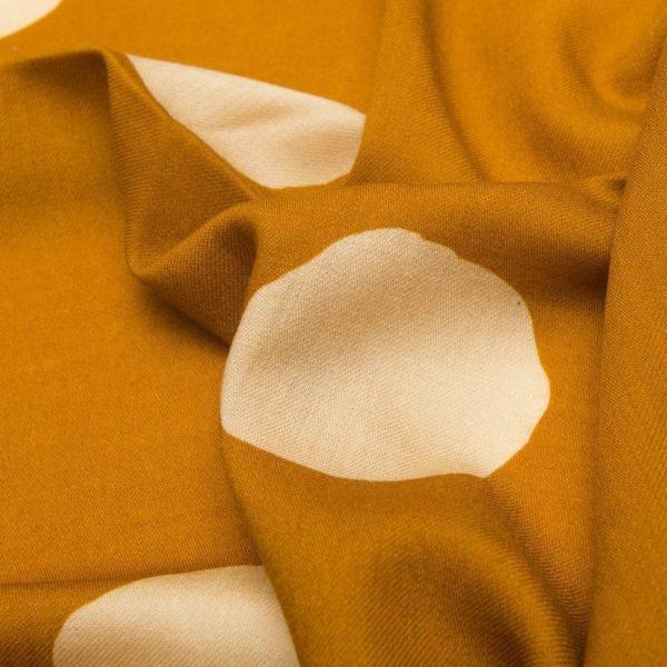 Foulard sfrangiato 100% Lana vergine Ocra con Pois beige