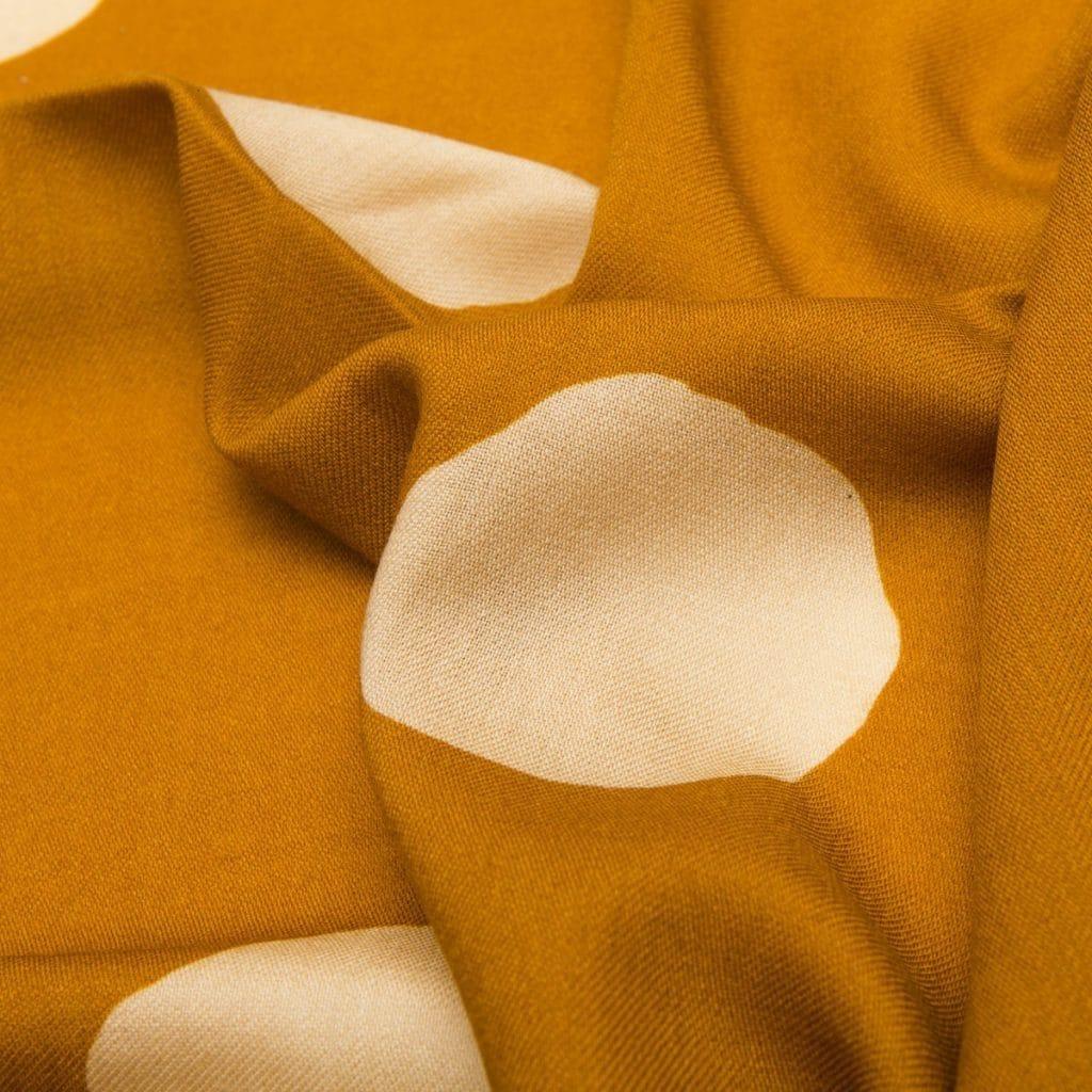 Ocher Virgin Wool Small Scarf with Polka dot