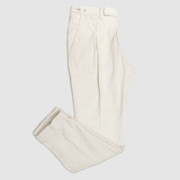 White Corduroy One pleat Trousers