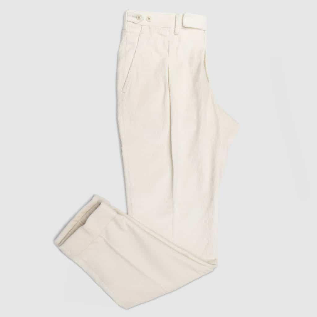 White Corduroy One pleat Trousers