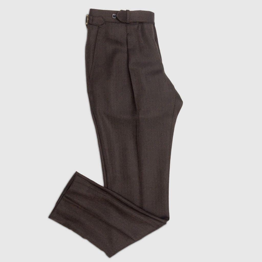 Pantalone herringbone marrone 1 pence in Flanella