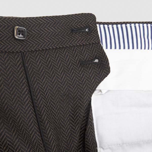 Brown Herringbone One pleat Flannel Trousers
