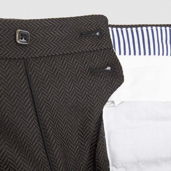 Brown Herringbone One pleat Flannel Trousers