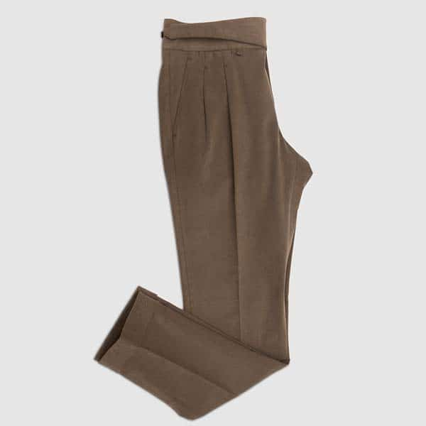 Brown double pleat Cotton Trousers