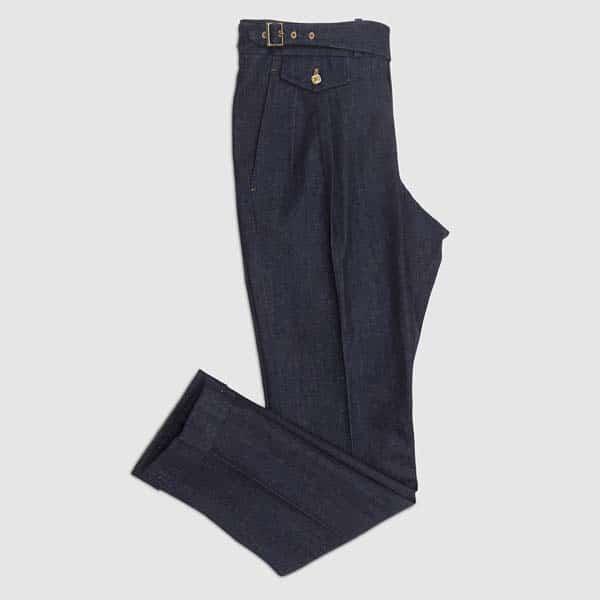Blue Denim 2 pleats Highwaisted Trousers