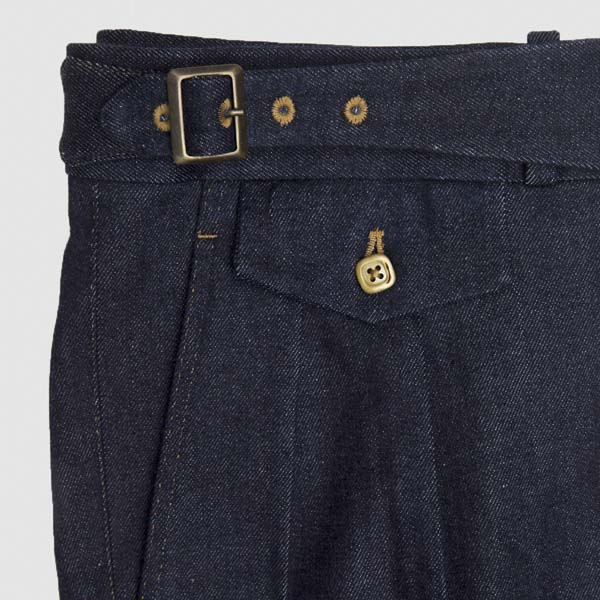Blue Denim 2 pleats Highwaisted Trousers