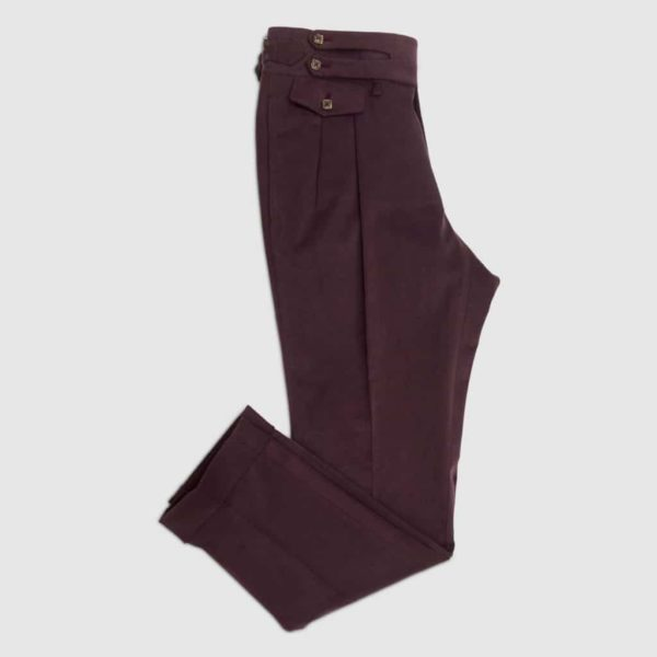 Bordeaux Velvet two pleats Trousers