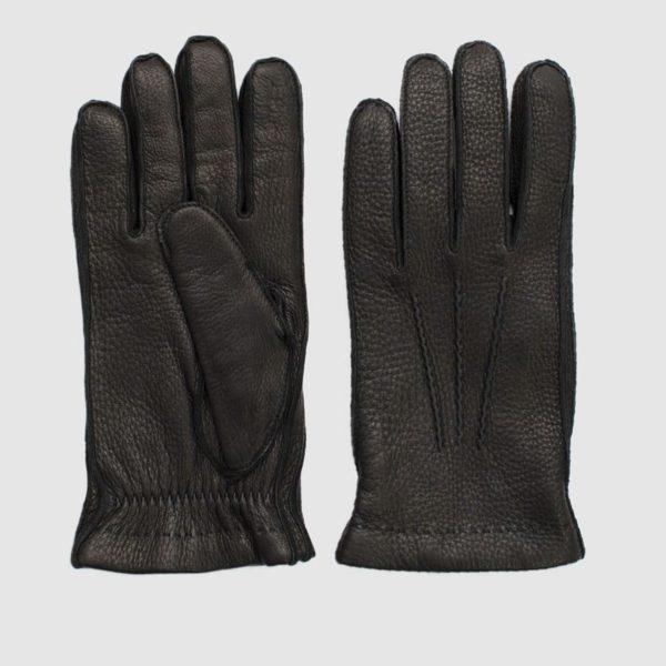 Guanti in cervo nero con rivestimento cashmere