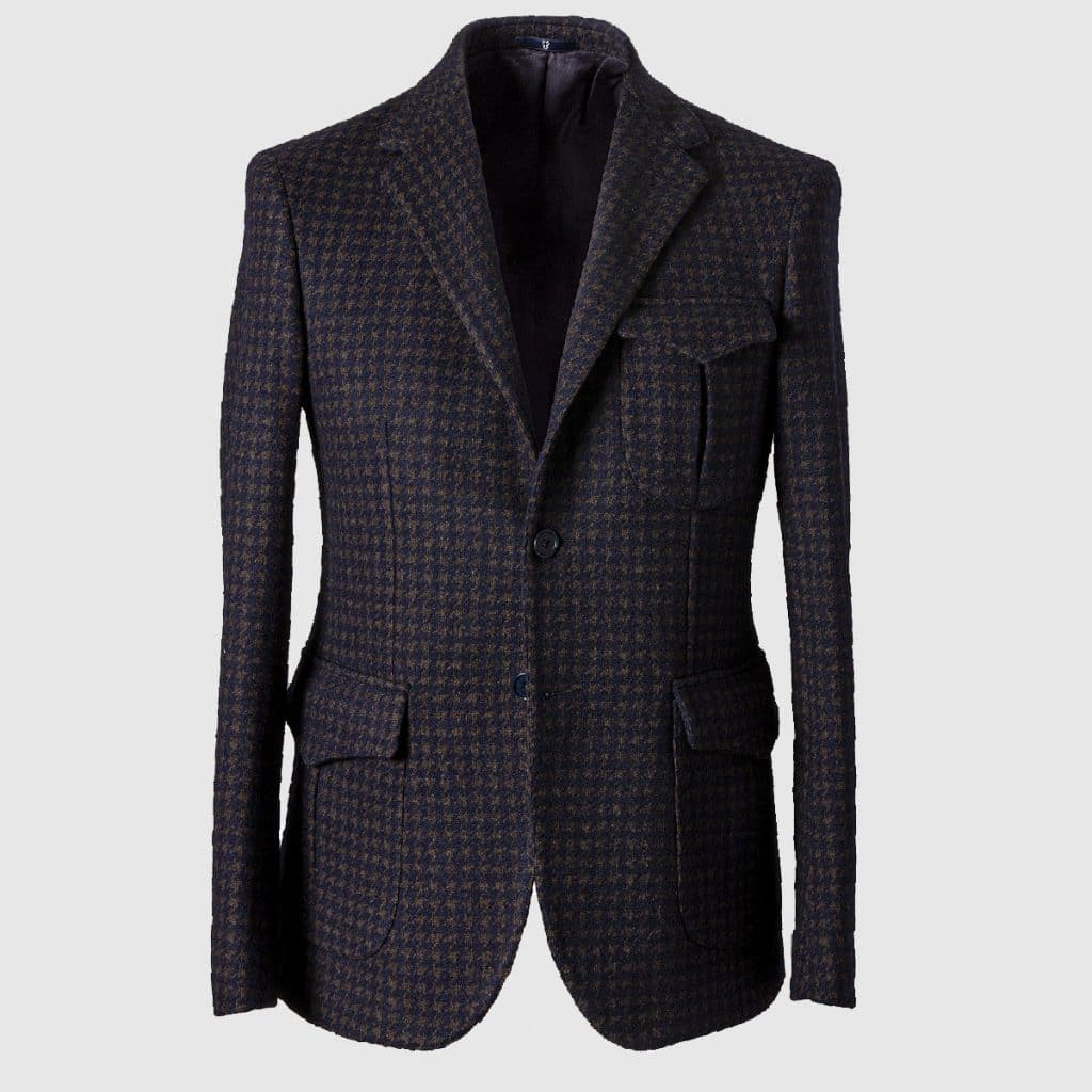 """Pied de poule"" Single-breasted Blazer in Wool Cotton and Polyester"