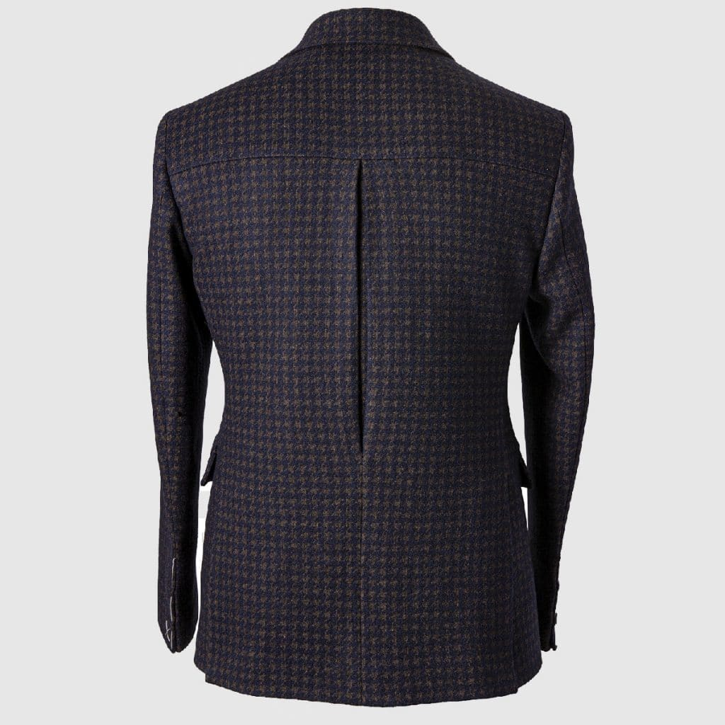 """""""Pied de poule"""" Single-breasted Blazer in Wool Cotton and Polyester"""