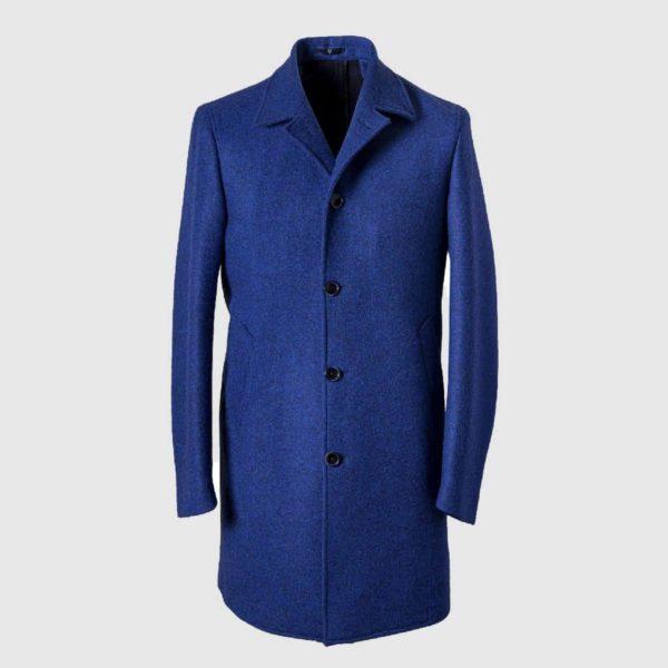 Cappotto blu elettrico modello stelvio in Lana