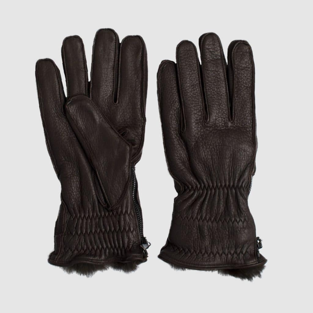 Dark-brown deerskin gloves with lapin lining