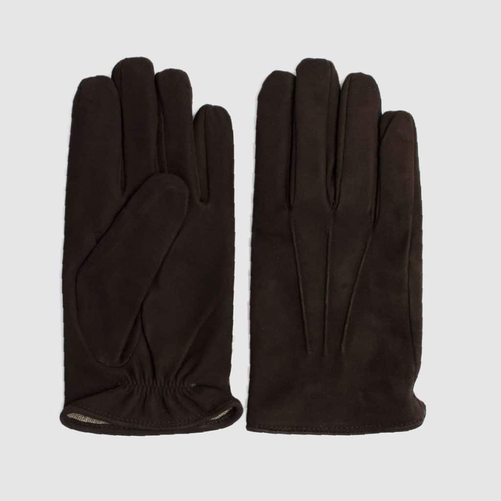 Brown suede gloves with cashmere lining