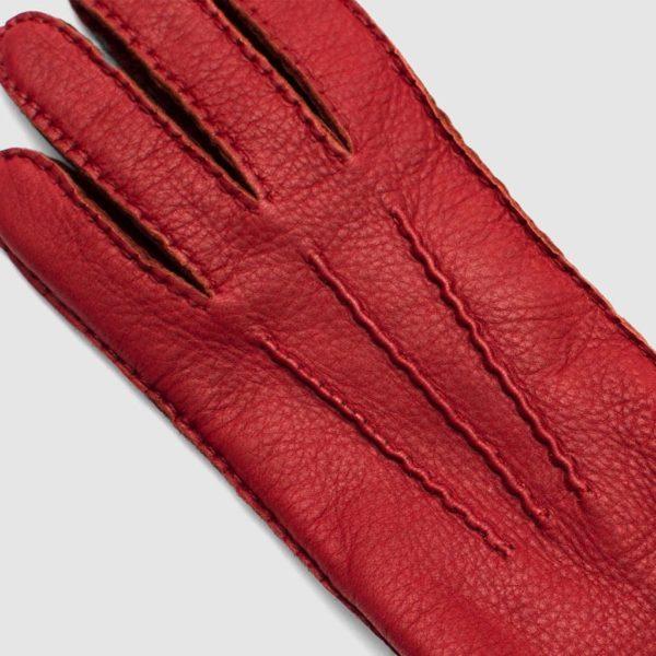 Guanto in cervo rosso con fodera cashmere