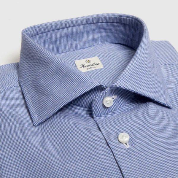 Camicia a quadretti blu bianche con 12 passaggi a mano