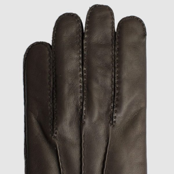 Brown Nappa glove lined in cashmere