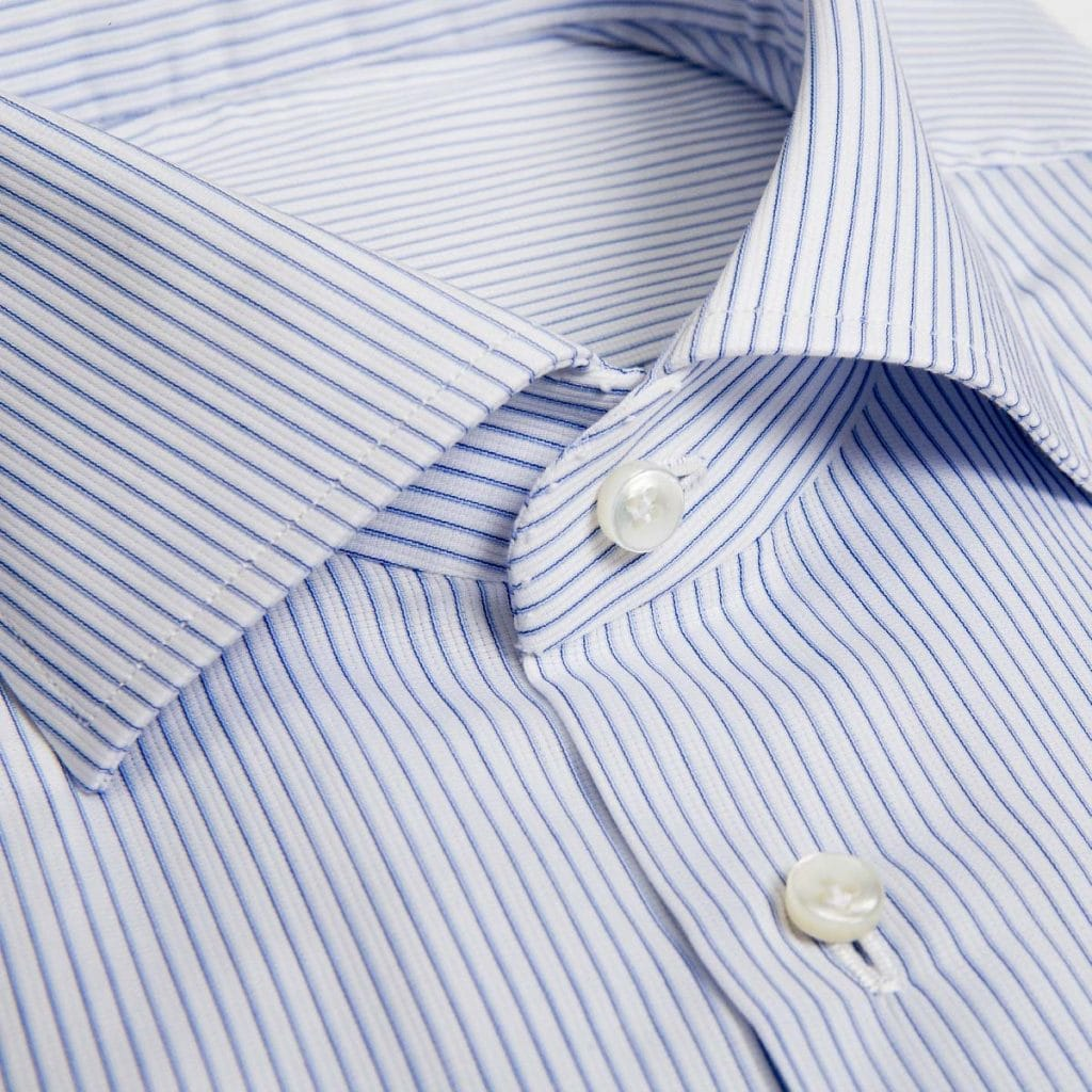 Camicia Oxford bianca rigata blu e celeste