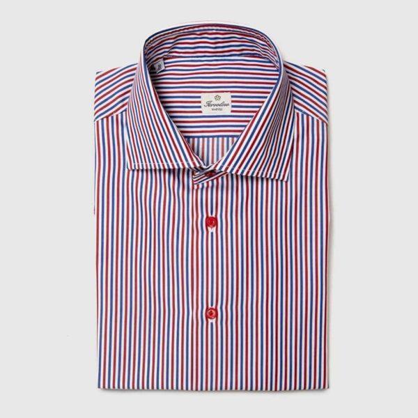 Camicia a righe rosse blu bianche con 12 passaggi a mano