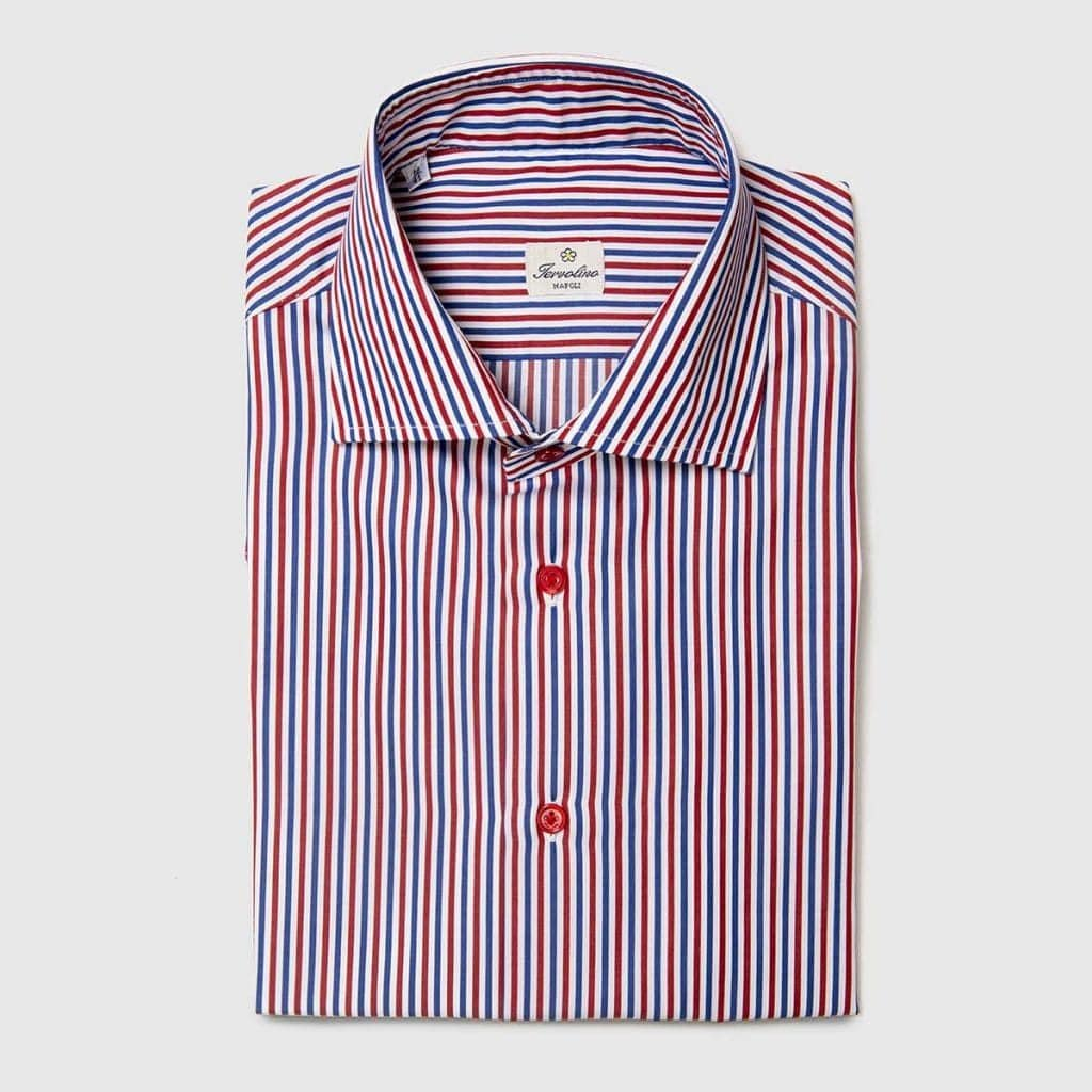 Red Blue and white Twelve Steps striped shirt
