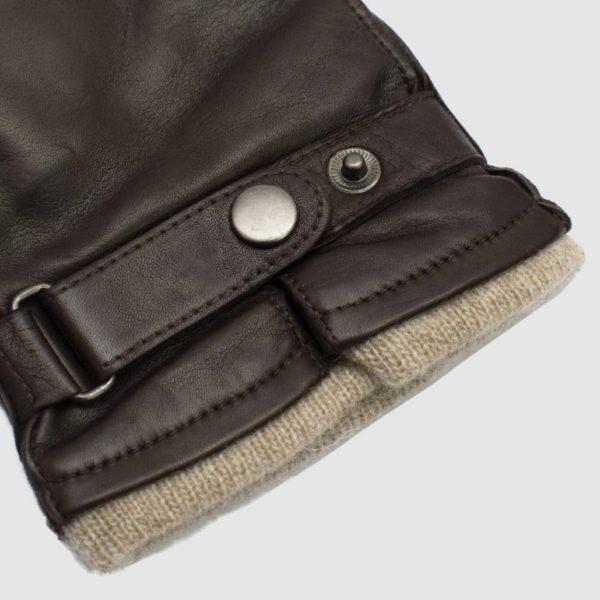 Guanto in nappa con cinturino e fodera cashmere