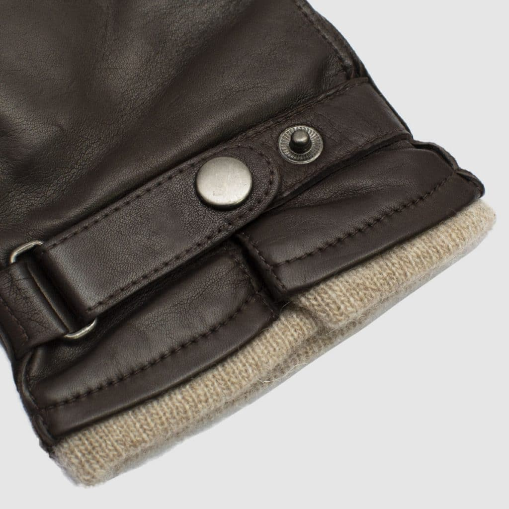 Brown nappa Leather gloves with cashmere lining
