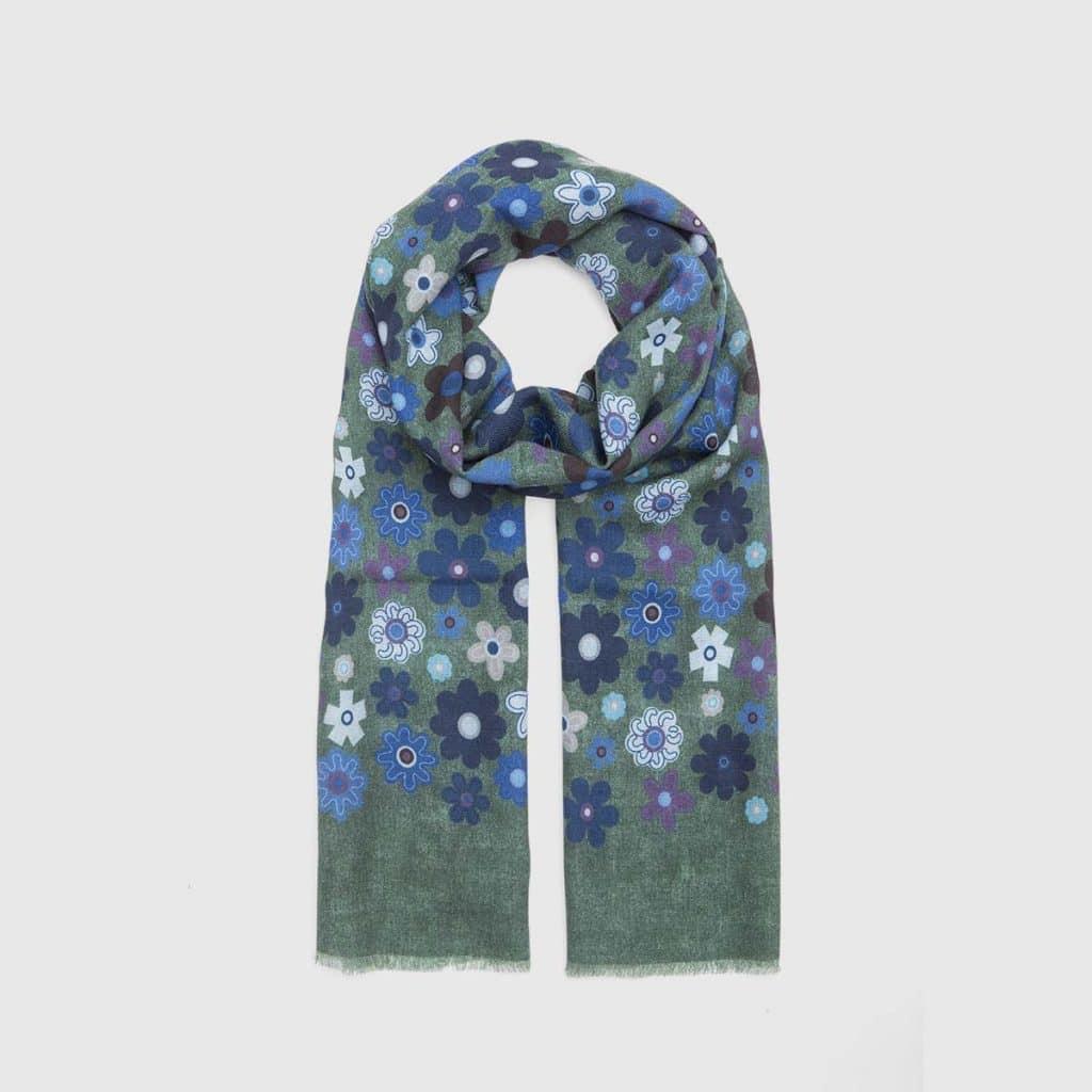 Green Floral Silk-Wool Scarf