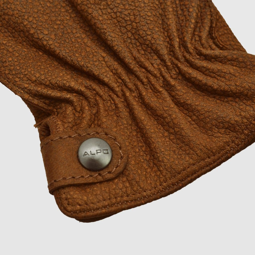 Brown printed Nappa glove with button