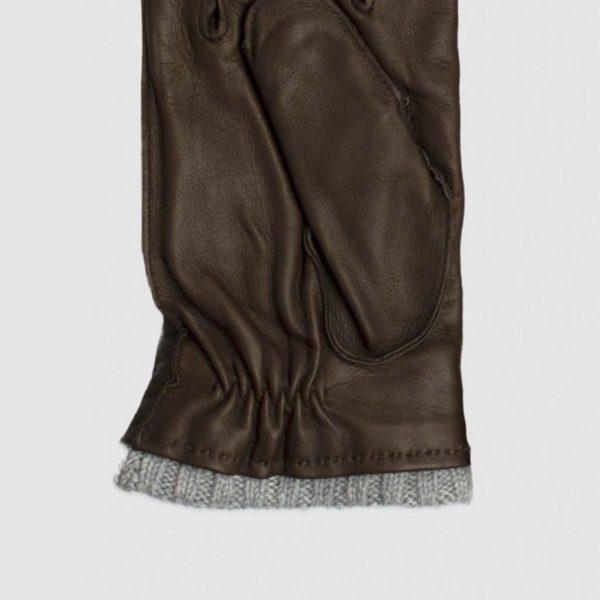 Guanto in nappa marrone e cashmere