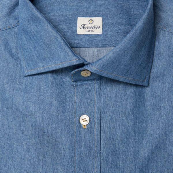 Camicia Denim chiaro con 12 passaggi a mano e tasca a pignata