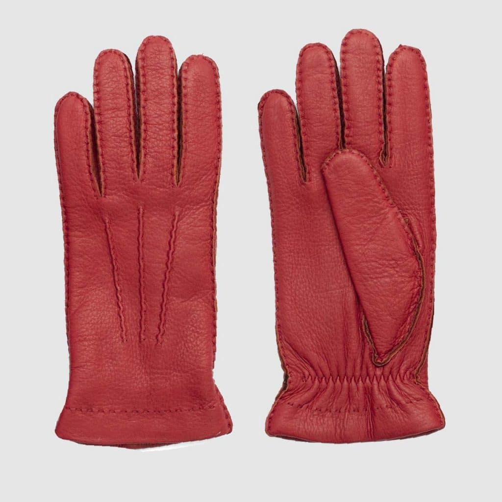 Red Deerskin Gloves fully-lined in soft cashmere